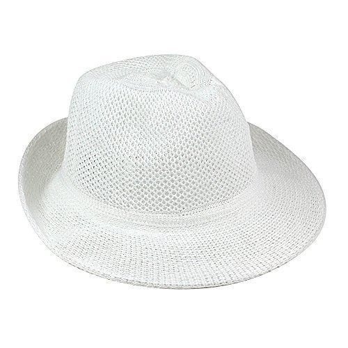eBuyGB Unisex Summer Straw Style Hat, White, One Size 1272306