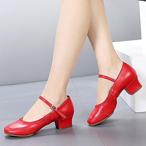 SQIAO-X- Scarpe da ballo fondo morbido, Kraft bassa testa rotonda a piazza Square Dance Dance Latina Professional scarpe da ballo, rosso,40