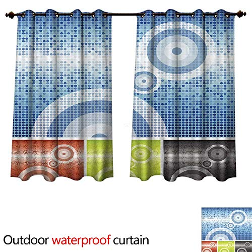 - Home Patio Outdoor Curtain Abstract Circles wi Tiles Background W72 x L72(183cm x 183cm)