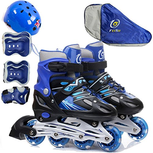 Skating Flash Elbow Size Roller Single Beauty Set Quad Skates leader Children Row Guard Hat Skates Boots With blue Adjustable Knee EnaA7gqW