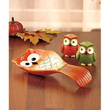 3-pc. Rustic Harvest Owl Tabletop Spoon Rest w/ Salt and Pepper Shaker Set