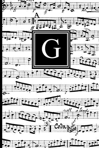 G: Musical Letter G Monogram Music Journal, Black and White Music Notes cover, Personal Name Initial Personalized Journal, 6x9 inch blank lined college ruled notebook diary, perfect bound, Soft Cover