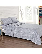 Mooreeke Full Size Sheet Set, 4 Piece Brushed Microfiber Printed Bed Sheets Set with Fitted Sheet Flat Sheet 2 Pillow Cases Soft Breathable Machine Washable Branch Pattern