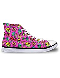 Casual Canvas Sneakers Unisex High Top Outdoor Go Easy Walking Shoes Skull Pink