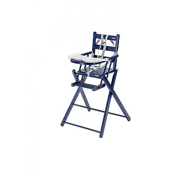 Chaise Haute Sarah Pliante Laqu Bleu