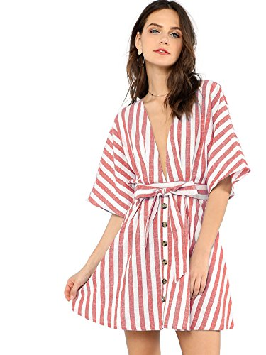 Floerns Women's Backless Deep V Neck Button Front Striped Mini Dress Red ()