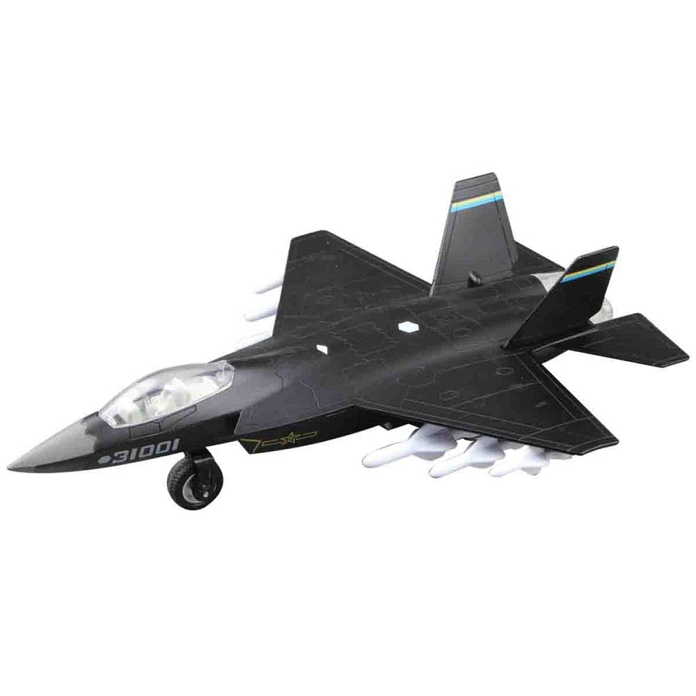 Topwon Die Cast Metal Military Fighter Jet for Kids Airplane Toy with LED Light Blue