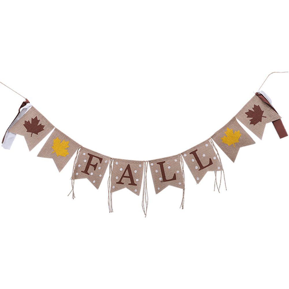 Fall Burlap Banner with Printed Leaves and Hemp Rope