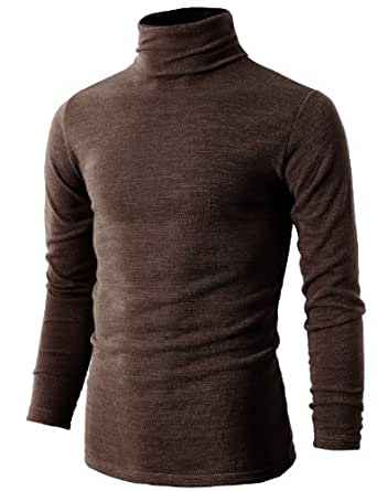 H2H Mens Casual Knitted Turtleneck Pullover Winter Thermal Sweater Brown US XS/Asia M (KMTTL028)