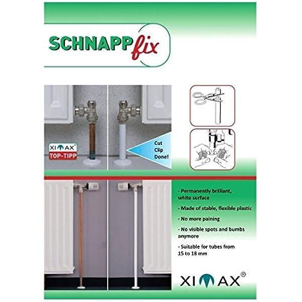 Ximax Schnappfix - Cubierta de tubería para radiador Paquete 8-er (205 mm) blanco: Amazon.es: Bricolaje y herramientas