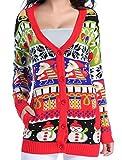 v28 Christmas Sweater Cardigan, Women Girls Ugly Fun Long Knit Colorful Sweaters (2XL, ModelA)