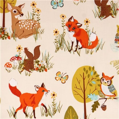 Animal Fabrics by the Yard - Beige forest animal & tree fabric 'Forest Fellows' by Robert Kaufman USA (per 0.5 yard multiples)