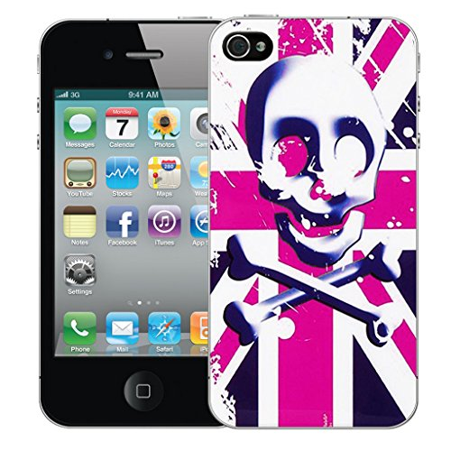 Mobile Case Mate iPhone 5s Silicone Coque couverture case cover Pare-chocs + STYLET - Pink Skull Flag pattern (SILICON)