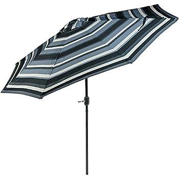 Good Sunnydaze 9 Foot Aluminum Patio Umbrella With Push Button Tilt U0026 Crank,  Catalina Beach Stripe