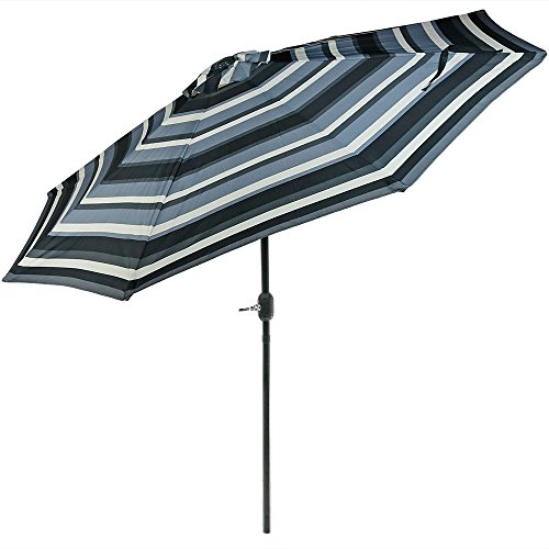 Sunnydaze 9 Foot Outdoor Patio Umbrella with Push Button Tilt Crank, Aluminum, Catalina Beach Stripe
