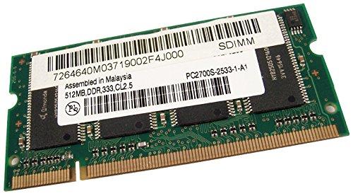 HP 512MB 333Mhz SODIMM DDR Memory PC2700S-2533-1-A1 Micron CL2.5 Laptop Ram