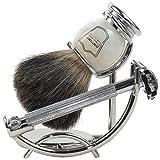 Parker 29L Safety Razor Shave Set - Includes Black Badger Brush, Stand & Parker 29L Butterfly Open Safety Razor Plus 10 blades