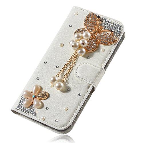 LG L Fino Funda, LG D295 Funda, Lifeturt [ mariposa negro ] Cubierta de la caja de cuero superior de la carpeta del libro para LG L Fino/D295 E02-03-mariposa de la perla