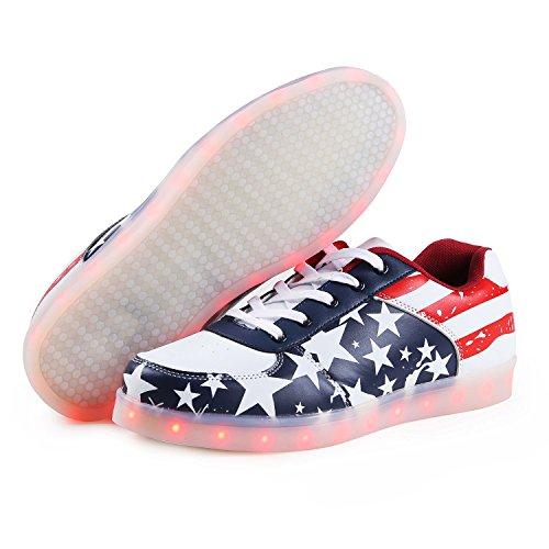 Leuchtend Schuhe Farbwechsel LED USB Weiß Turnschuhe Herren Rot SAGUARO Sport Sneaker Damen 7 Sportschuhe qAY1x8w4I4