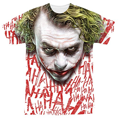 The Dark Knight Heath Ledger All Over Joker Head T Shirts & Exclusive Stickers (Medium)