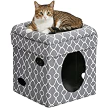 MidWest Homes for Pets Cat Cube   Cozy Cat House/Cat Condo in Fashionable Gray Geo Print   15.5L x 15.5W x 16.5H Inches