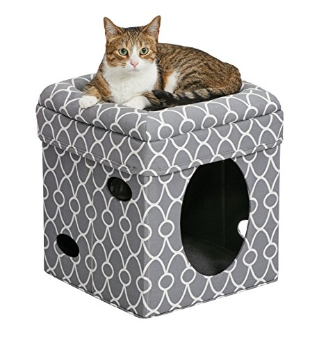 MidWest Homes for Pets Cat Cube | Cozy Cat House/Cat Condo in Fashionable Gray Geo Print | 15.5L x 15.5W x 16.5H Inches