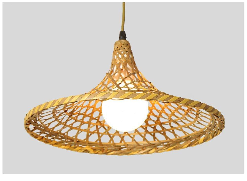 Einfache Bamboo Light Restaurant Lichter Bambus Kunst Rattan Weben Lichter Im Japanischen Stil Lampen Strohhut Kronleuchter (Größe  34  14 Cm) Mit Led