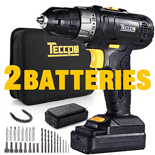 Cordless Drill, TECCPO 2pcs 2.0Ah Lithium-Ion Compact Drill Driver Set, 20+1 Position, 2-Speed Max Torque 240In-lbs, 3/8