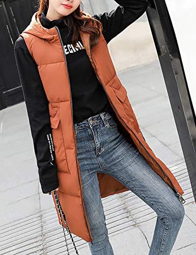 Outwear Casual Coffee Zipper Inverno Di Autunno Lungo Cappuccio Fit Xl 3xl Jacket Taglia Besbomig Cotone L Womens Gilet 2xl Slim Caldo Con pqZ8fn1C