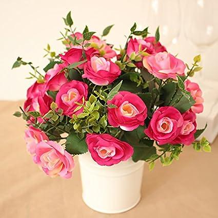 Simulación de flor NabothT Mini Flores artificiales Mini macetas de ...