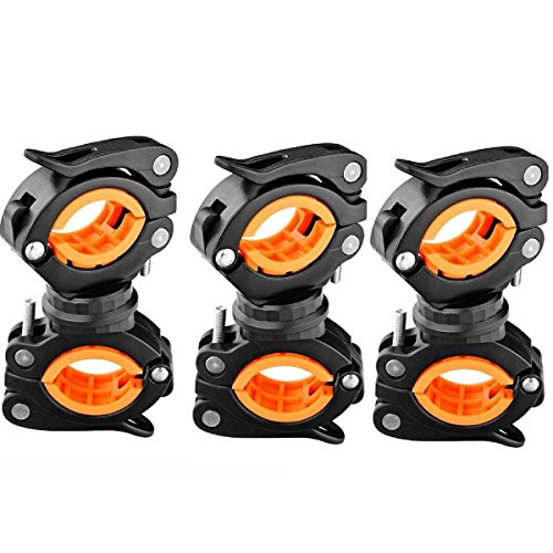 Vonpri [3 Pack] Flashlight Holder, Mount Bicycle Mounting Bracket Flashlight Holder Torch Clip 360º Rotation (Orange) (Bike Handlebar Flashlight)