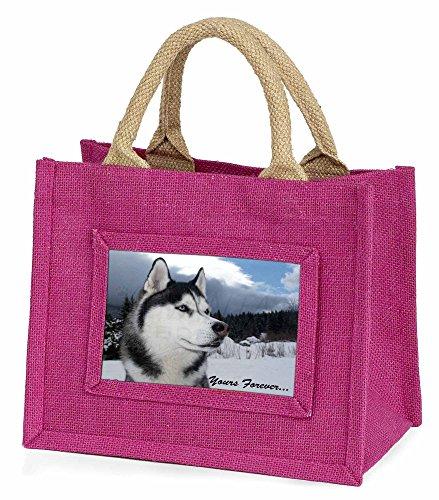 Advanta–Mini Pink Jute Tasche Siberian Husky Hund Yours Forever Little Mädchen klein Einkaufstasche Weihnachten Geschenk, Jute, pink, 25,5x 21x 2cm