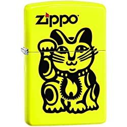 Zippo Lighter: Kitty Cat with Flame - Neon Yellow 77682