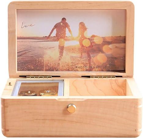 JunMei Caja Musical Personalizada de Madera Vintage con su Foto, joyero, Regalo Personalizado con Foto, Mecanismo