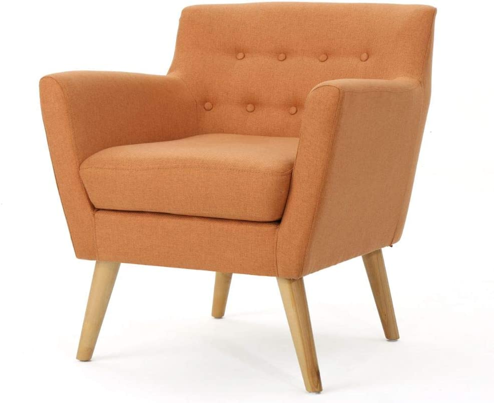 Christopher Knight Home Meena Mid-Century Modern Fabric Club Chair, Orange / Natural