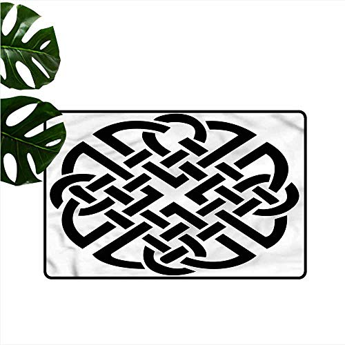 Thin Door mat Celtic Ancient Scottish Design Knot Non-Slip Door mat pad Machine can be Washed W35 xL47