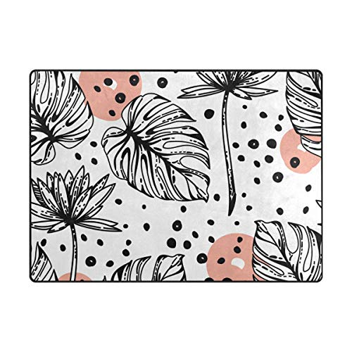 - S Husky Indoor Decorative Area Beautiful Black and White Lotus Leaves Circle Minimalist Plant Pattern Rug Garden Office Bedroom Floor Mat, Non Slip, Rugs for Kitchen, Bath 63 x 48 in 2041778