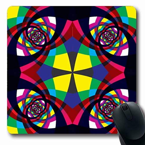 Hypnotic Violet - Ahawoso Mousepad Oblong 7.9x9.8 Inches Bright Pattern Kaleidoscope Geometric Abstract Clip Violet Blue Hypnotic Circle Lines Swirl Design Office Computer Laptop Notebook Mouse Pad,Non-Slip Rubber