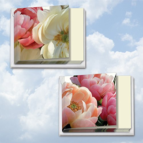 MQ4606OCB-B6x2 Peony Passion: 12 Assorted 'Square-Top' Blank, All Occasions Note Cards Featuring Images of Beautifully Textured Peonies in Full Bloom with Envelopes. (View Textured Cardstock)