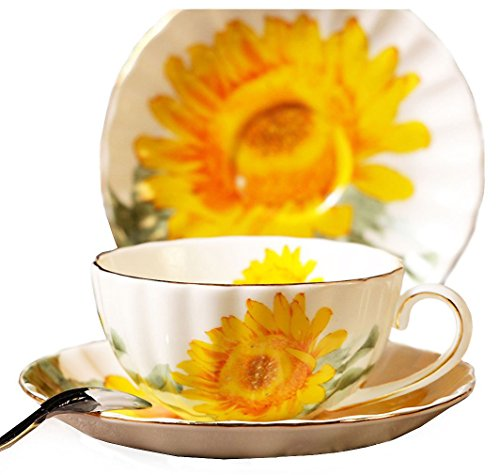 Fine Bone China Sunflower Vintage Chintz Porcelain Coffee Mug Tea Cup with Saucer