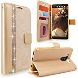 LG V10 Case, Cellularvilla [Diamond] Embossed Flower Design Premium PU Leather Wallet Case [Card Slot] [Stand Feature] Flip Protective Cover for LG V10 (2015) (Golden Bling)