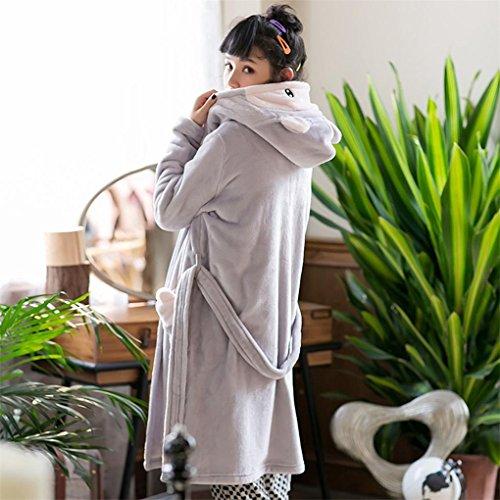 di Cappuccio gray Inverno Flanella Pigiama Accappatoio Giapponesi HXQ wpqUa8