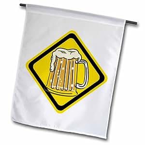 "3dRose fl_172550_2 ""Caution Sign Beer"" Garden Flag, 18 x 27"""