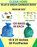 Clean Home - Disposable Garbage Bags for Wet and Dry Waste (60 Pieces Green and 60 Pieces Blue) Medium Size- Total 120 Bags