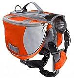 horse harness bag - Kuoser Dog Backpack, Pet Adjustable Saddle Bag Backpack Harness Carrier Large Capacity Tripper Hound Bag for Traveling Hiking Camping for Medium & Large Dog,Orange L