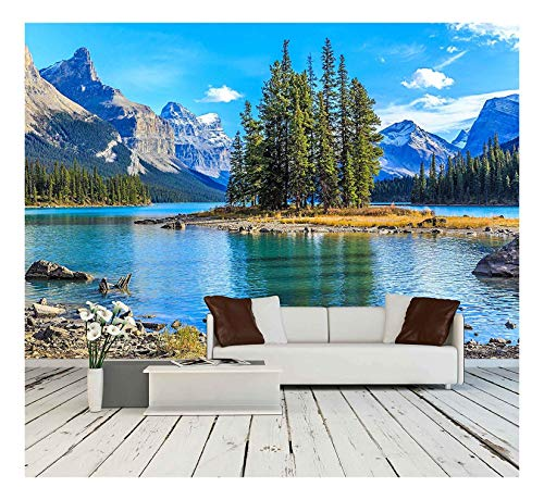 wall26 - Spirit Island in Maligne Lake - Removable Wall Mural | Self-Adhesive Large Wallpaper - 100x144 inches