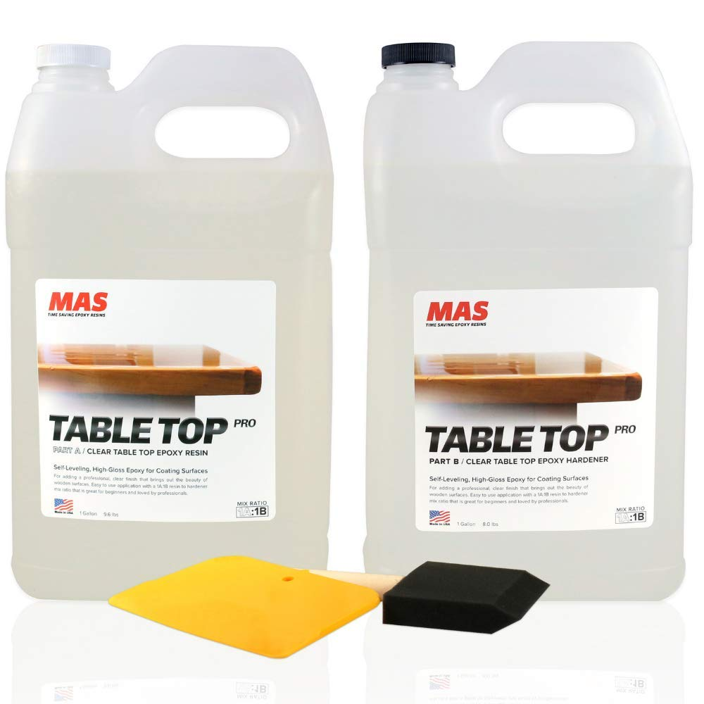 Crystal Clear Epoxy Resin Two Gallon Kit | MAS Tabletop Pro Epoxy Resin & Hardener | Two Part Kit for Wood Tabletop, Bar Top, Resin Art | Set Includes Spreader & Brush | Professional Grade (2 Gallon) by MAS Epoxies
