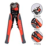 Wire stripping pliers, Topinsun Self-adjusting Cable Cutter Crimper, Automatic Wire Stripper/ Cutting Pliers Tool for Industry 10-24 AWG Stranded Wire Cutting