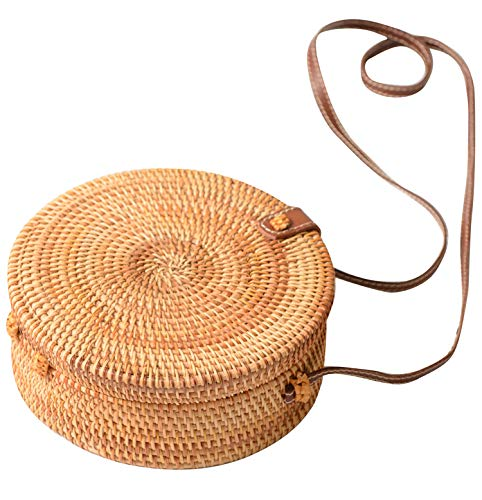 Handwoven Iron Round Rattan Women's Shoulder handbags (Small, simple -
