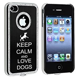Apple iPhone 4 4S 4G Black S358 Rhinestone Crystal Bling Aluminum Plated Hard Case Cover Keep Calm and Love Dogs